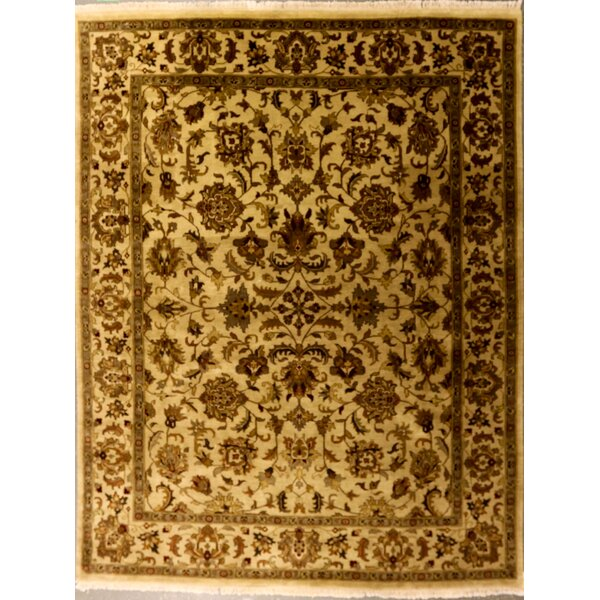 Edwardson One-of-a-Kind Indian Lateef Hand-Knotted Wool Beige Area Rug by Canora Grey
