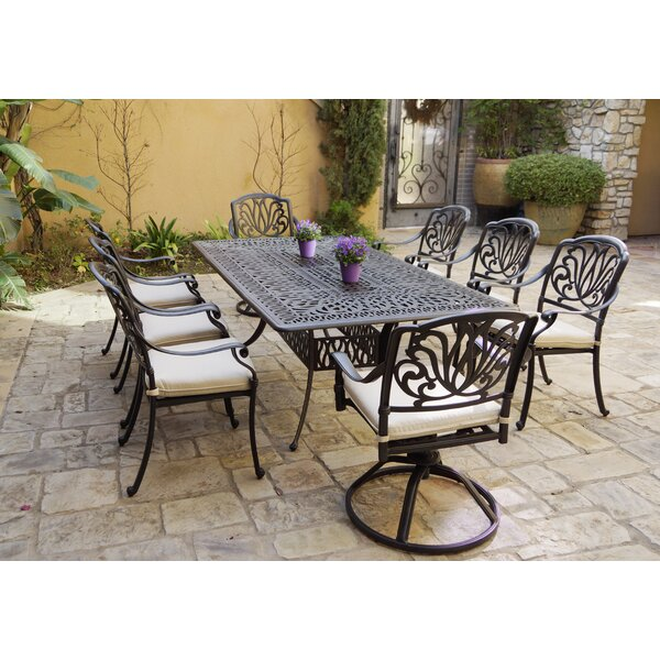 Bulger 9 Piece Dining Set with Cushions by Canora Grey