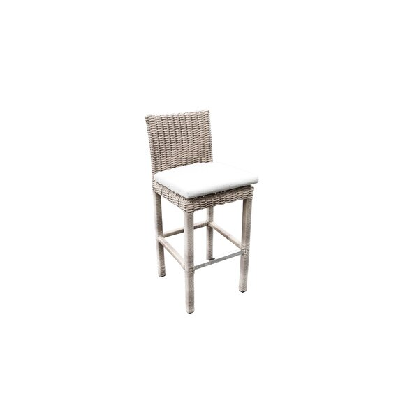 Norman Outdoor Wicker Bar Patio Chair with Cushions by Bayou Breeze