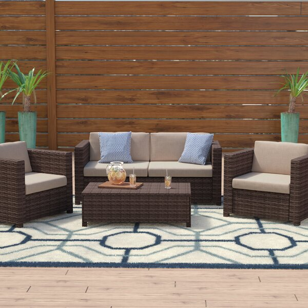 Kappa 4 Piece Rattan Sofa Set with Cushions by Mercury Row
