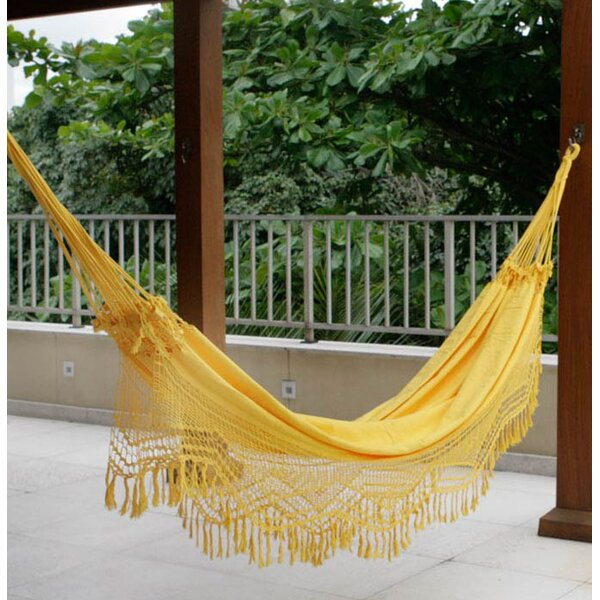 Double Person Fair Trade Portable Amazon Sun' Hand-Woven Brazilian Sustainable Cotton with Crocheted Fringes Indoor And Outdoor Hammock by Novica