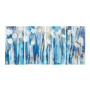 Ocean Breeze Blossom 4 Piece Painting Print Set by INK+IVY