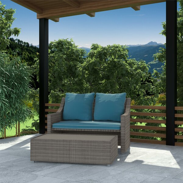Coyne Patio 2 Piece Sofa Seating Group with Cushions by Highland Dunes