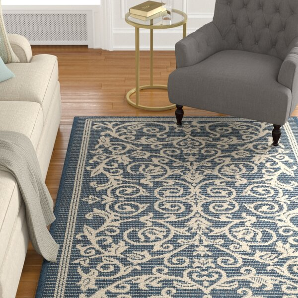 Bexton Navy & Beige Outdoor/Indoor Area Rug II by Alcott Hill