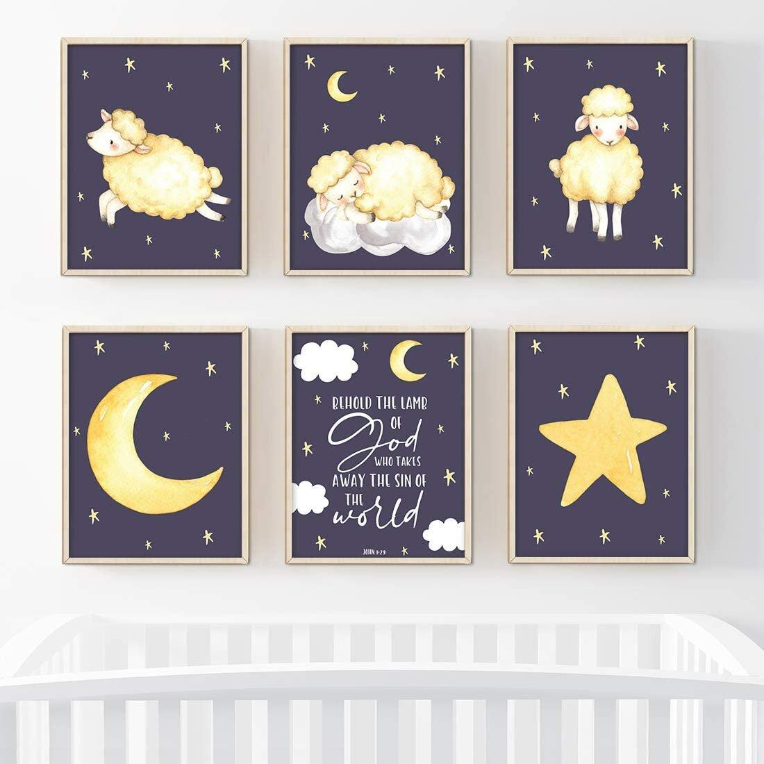 Sheep nursery Blue yellow nursery Farm animals nursery gender neutral nursery decor Nursery decor lambs twinkle twinkle little star