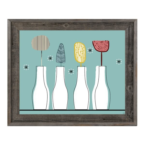 Modern Vases Blue Framed Painting Print on Canvas by Click Wall Art