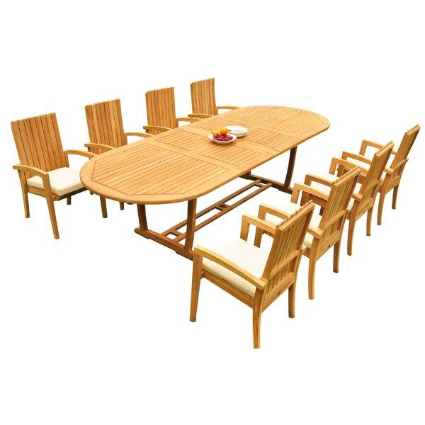 Weldon 9 Piece Teak Dining Set Bayou Breeze W001959701