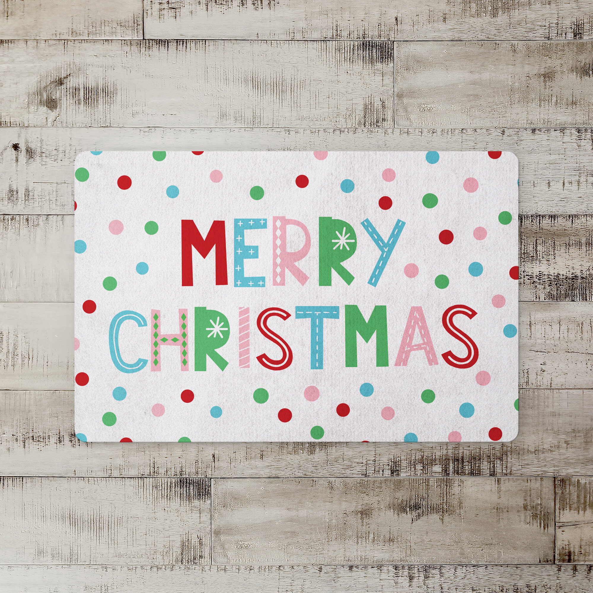 The Holiday Aisle Derry Merry Christmas Kitchen Mat
