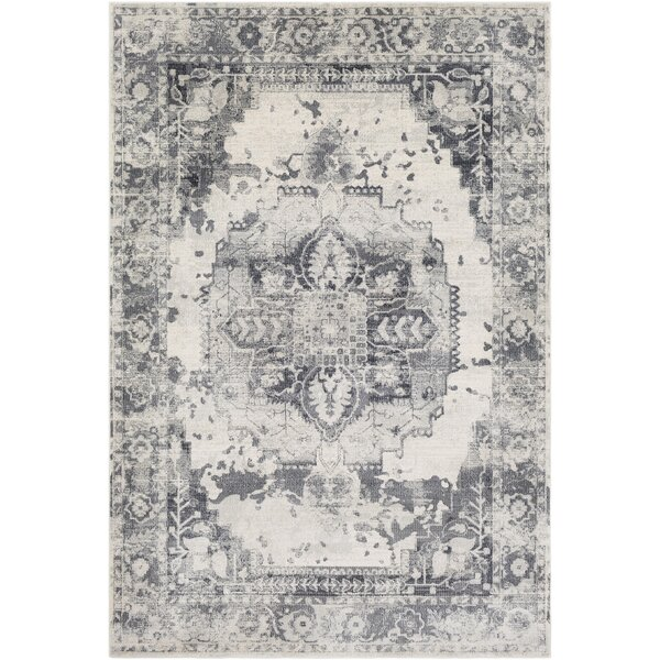 Lillo Floral Gray/White Area Rug by Bungalow Rose