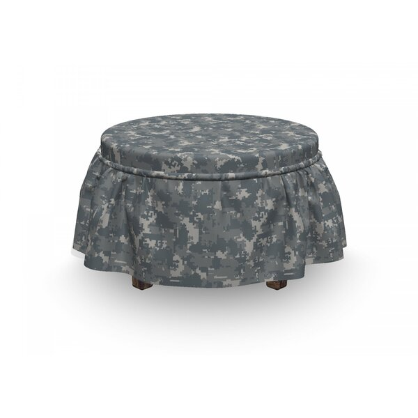 Neutral Pixel Camo Art Ottoman Slipcover (Set Of 2) By East Urban Home