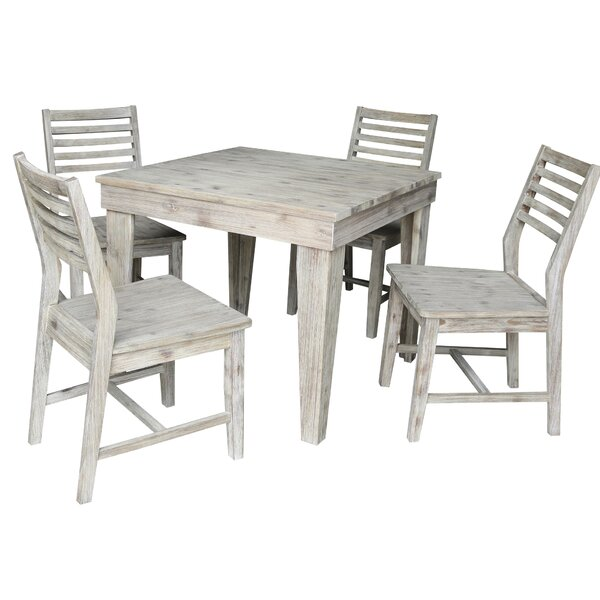 Gallego 5 Piece Solid Wood Dining Set by Gracie Oaks