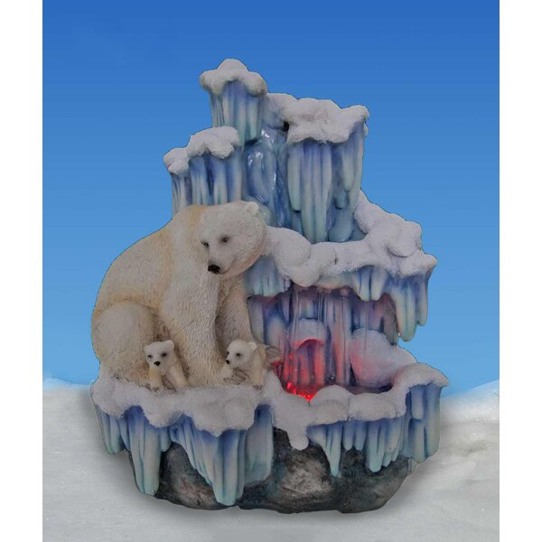 Artistic Sculptural Mother Polar Bear with Her Cubs on Iceberg Tabletop Water Fountain by Sintechno