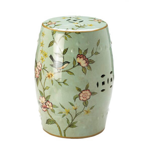 Palm Coast Floral Garden Stool by Bungalow Rose