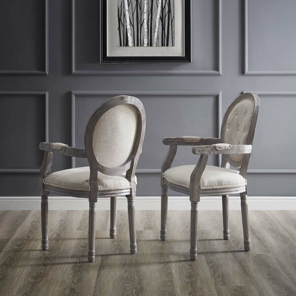 Natalia Vintage French Upholstered Dining Chair (Set of 2) by Ophelia & Co.