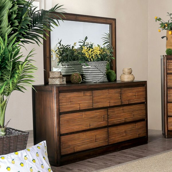Sanders 7 Drawer Double Dresser with Mirror by Mutsumi Home Studio