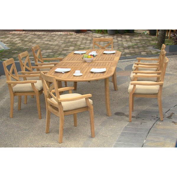 Holladay Luxurious 9 Piece Teak Dining Set by Rosecliff Heights