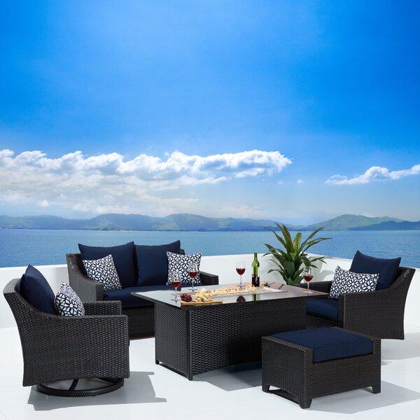 Bentlee 5 Piece Rattan Sunbrella Sofa Seating Group with Cushions by Brayden Studio