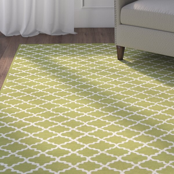 Fullerton Hand-Woven Cotton Olive/Ivory Area Rug by Alcott Hill