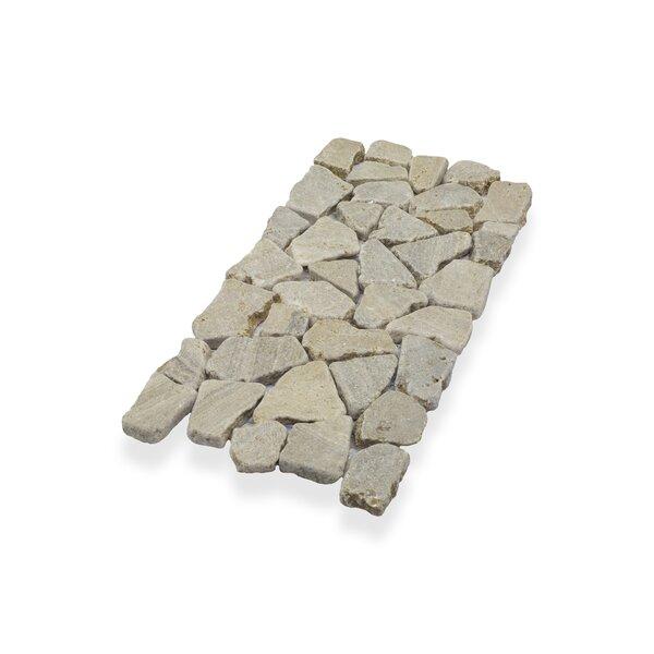 "Border Interlock 6 x 12"" Natural Stone Pebbles/Rocks Tile in Tan by Pebble Tile"