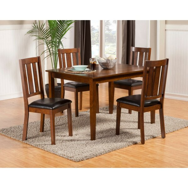 Wilke Rubberwood 5 Piece Solid Wood Dining Set by Millwood Pines