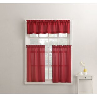 Kitchen Red Valances Curtains