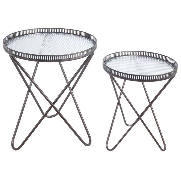 Review Alkiviadis Tray Top Cross Legs Nesting Table Set