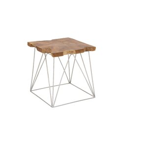 Cole & Grey Teak and Metal End Table