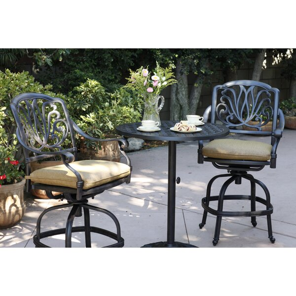 Lebanon 3 Piece Bar Height Dining Set with Cushions by Three Posts