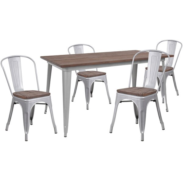 Pridgen 5 Piece Solid Wood Dining Set by Williston Forge