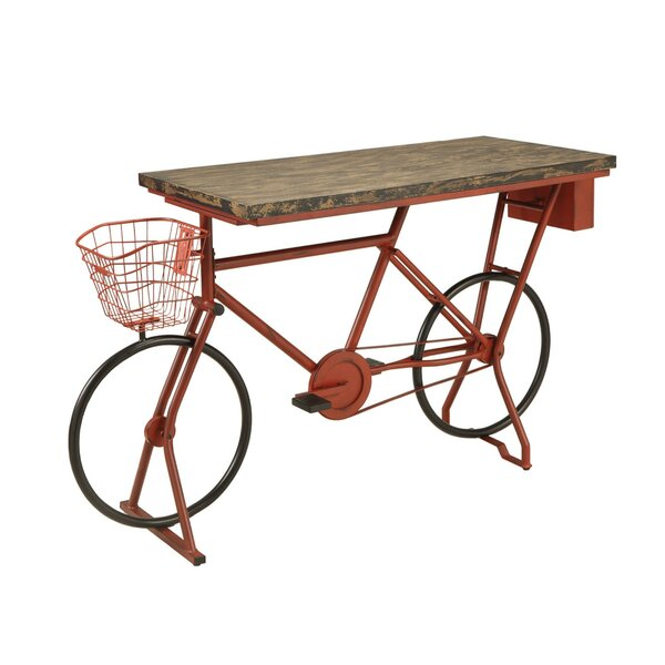 Hayley Metal Bicycle Base Distressed Wood Pub Table by 17 Stories