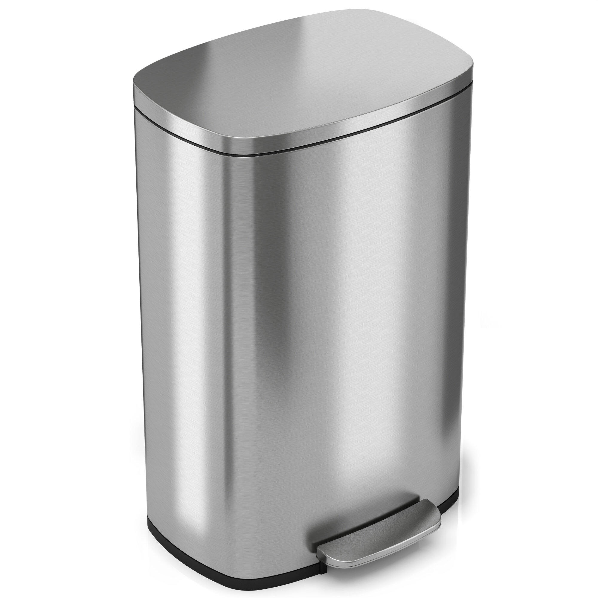 itouchless Soft Step Stainless Steel Kitchen 13.2 Gallon Step On ...