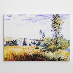 'Landscape at Vetheuil' by Claude Monet Oil Painting Print on Wrapped Canvas by Red Barrel Studio