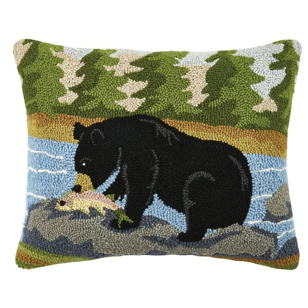 Bear Hunting Wool Lumbar Pillow by Peking Handicraft
