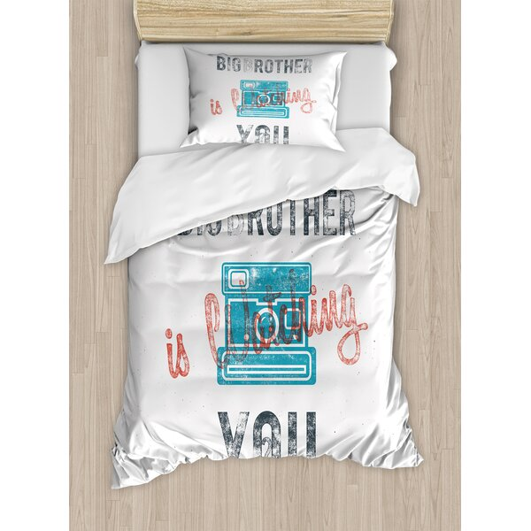 Vintage Half Toned Big Brother Quote with Old-Fashion Analogue Camera Icon Web Print Duvet Set by Ambesonne