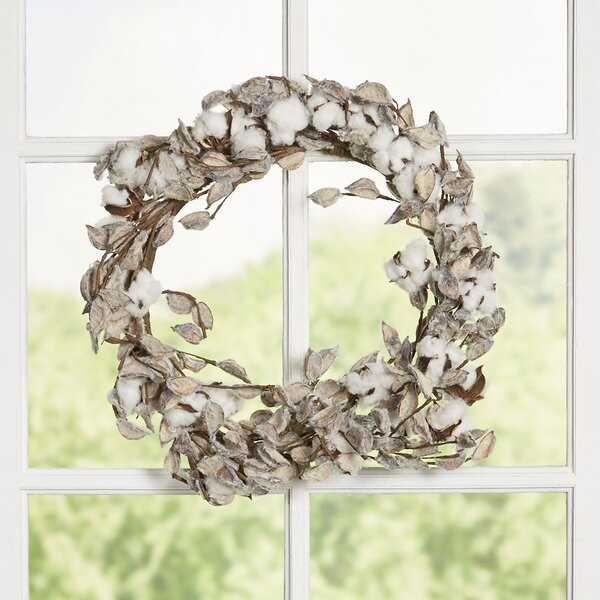 Cotton and Pod 19 Wreath by Laurel Foundry Modern Farmhouse