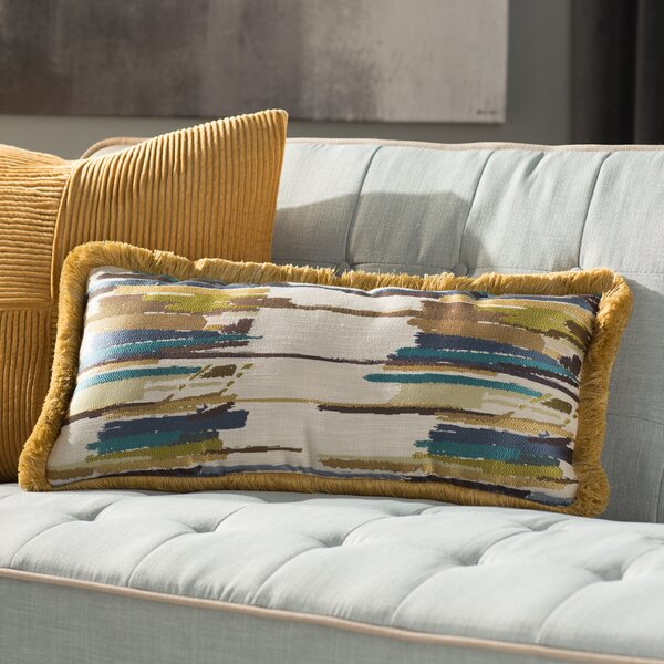 Donovan Jacquard Woven Lumbar Pillow by Langley Street