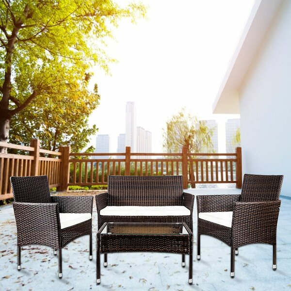 4 Piece Rattan Multiple Chairs Seating Group with Cushions by Ebern Designs Ebern Designs