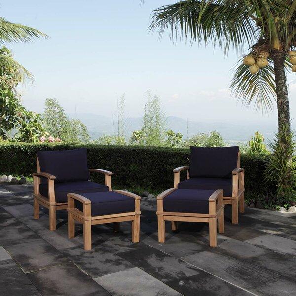 Elaina Teak Patio Chair with Cushions and Ottoman Set by Beachcrest Home Beachcrest Home