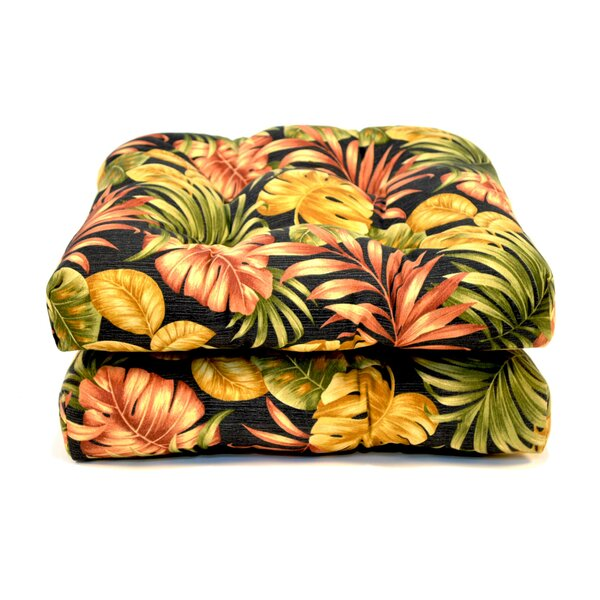 Tropical Wicker Indoor/Outdoor Dining Chair Cushion (Set of 2) by Wildon Home ®