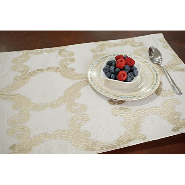 Scroll Printed Fabric 13 Placemat (Set of 8) by Dainty Home