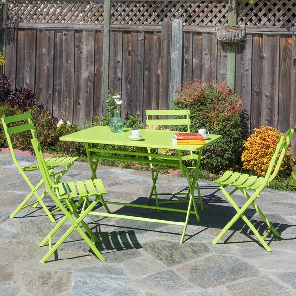 Trey Rectangular Steel Patio Folding 5 Piece Bistro Set by Ivy Bronx