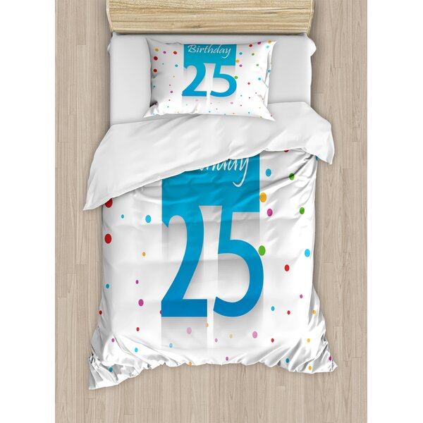 25th Birthday Decorations Duvet Set by Ambesonne