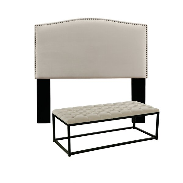Almodovar Upholstered Panel Headboard and Tufted Bench by Darby Home Co