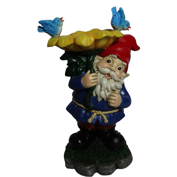 Gnome with Flower Statue Birdbath by Alpine
