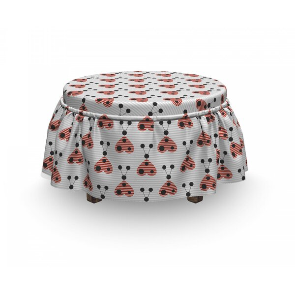 Heart Shaped Bug Forms Ottoman Slipcover (Set Of 2) By East Urban Home