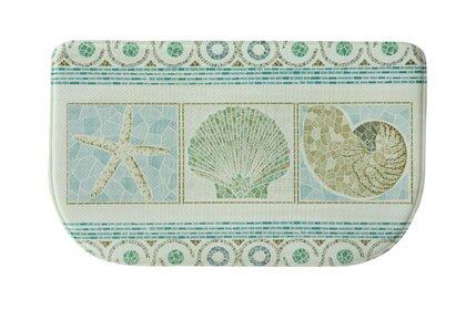 Evansville Seashell Mosaic Blue Area Rug by Highland Dunes