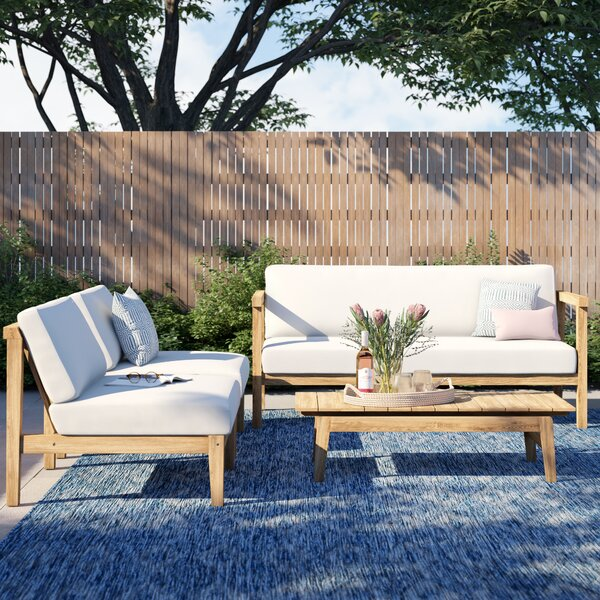 Annalese Outdoor Patio 4 Piece Teak Sofa Seating Group with Cushions by Foundstone