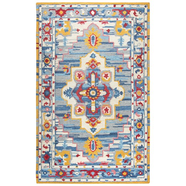 Duron Hand-Tufted Wool Natural/Blue Area Rug by Bungalow Rose