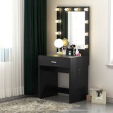 Kern Vanity with White Bulb Ligthed Mirror by Mercer41