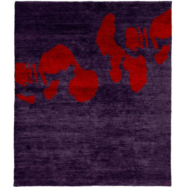 One-of-a-Kind Marsden Hand-Knotted Traditional Style Purple 8' x 10' Wool Area Rug